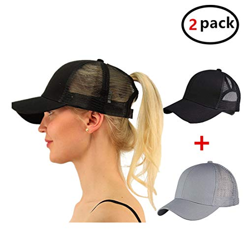 Gagget Women Girl Ponytail Messy High Buns Trucker Ponycap Adjustable Mesh Trucker Baseball Cap Hats BlackGrey