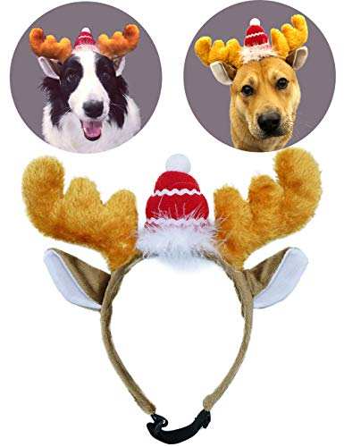 Mints Dog Reindeer Antlers Headband Funny Christmas Reindeer Antlers Costumes for Dogs Reindeer Antler Hat for Dogs Medium to Large Sized