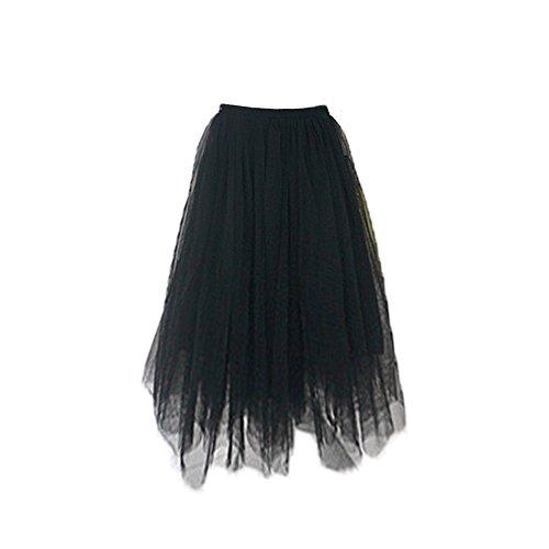 pour Tulle au Tutu Femmes en Taille Haute Oudan Jupe Noir Taille Genou lastique Jupe 1BptUpn