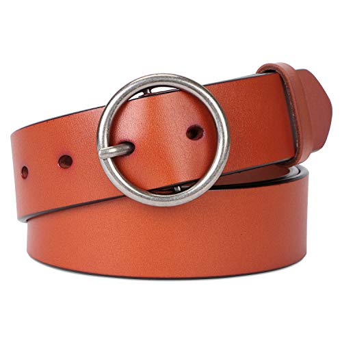 Women Leather Designer Belts for Dress & Jeans With Fashion Round Buckle By SUOSDEY