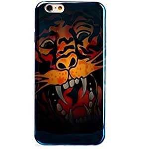 SHOUJIKE Grimace Tiger Pattern Blu-ray TPU Cover for iPhone 6