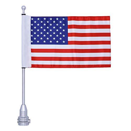 REAMTOP Motorcycle Luggage Rack Flag Mount Kit Flag Pole with American Flag for Harley Davidson (Flagpole +USA Flag)