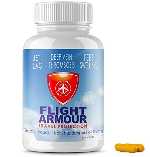 FLIGHT ARMOUR   SCIENTIFICALLY FORMULATED Jet Lag Pills (Not Homeopathic) Relief of Feet & Leg Swelling + Fatigue   Prevention of Blood Clots - Non-GMO Remedy, No-Jet-Lag, (Feel Like You Never Flew)