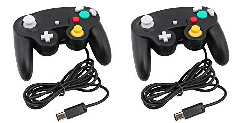 Gamecube Controller, Lyyes Classic Wired Controllers Compatible with Wii Nintendo Gamecube (Black-2pack)