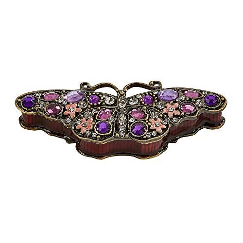 Beautiful Butterfly Glitter Purple 3 x 1 Jeweled Metal Decorative Trinket Box ()