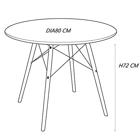 Dia60cm, Black KIMCO/® Furniture Eames Style Table with Natural Wood Legs Eiffel Dining Table