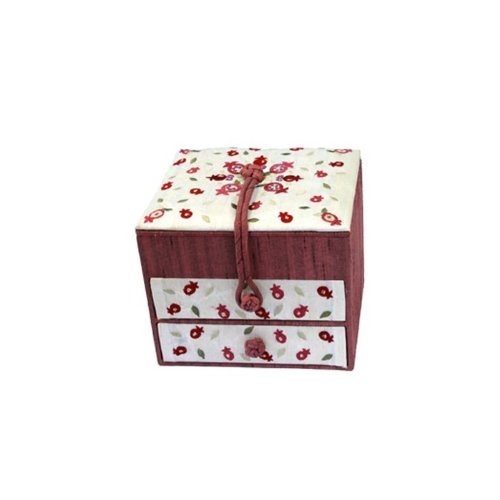 - Yair Emanuel | 2 Tiers Drawers Embroidered Jewelry Box | With Pomegranates | BE-1