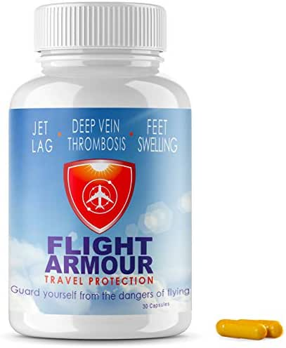 FLIGHT ARMOUR | SCIENTIFICALLY FORMULATED Jet Lag Pills (Not Homeopathic) Relief of Feet & Leg Swelling + Fatigue | Prevention of Blood Clots - Non-GMO Remedy, No-Jet-Lag, (Feel Like You Never Flew)