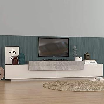 NOUVOMEUBLE Meuble TV Moderne Blanc laqué et Couleur Bois Gris Irene ...