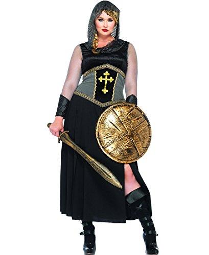 [Leg Avenue 85280X Plus Size Joan Of Arc Halloween Costume - Black/Silver - 3X-4X] (Joan Of Arc Costume Halloween)