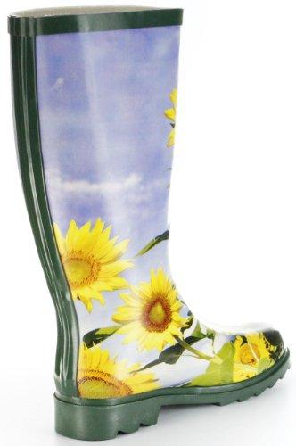 Conway Gummistiefel grün Regenstiefel Damen Stiefel Schuhe Sonnenblume Grün