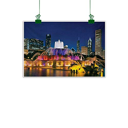 Anzhutwelve Chicago Skyline,Wall Art Buckingham Fountain Landmark in The Center of Grant Park Vibrant Night Wall Decor for Home Office Decorations Multicolor W 36