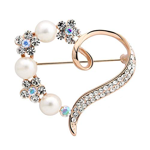 Pearl Pin Brooch - TULIP LY Heart Brooch for Women Cluster Pave Clear Crystal Love Heart Pearl Brooch Pin Wedding Party Clothes Accessories (Gold-Plated-Alloy)