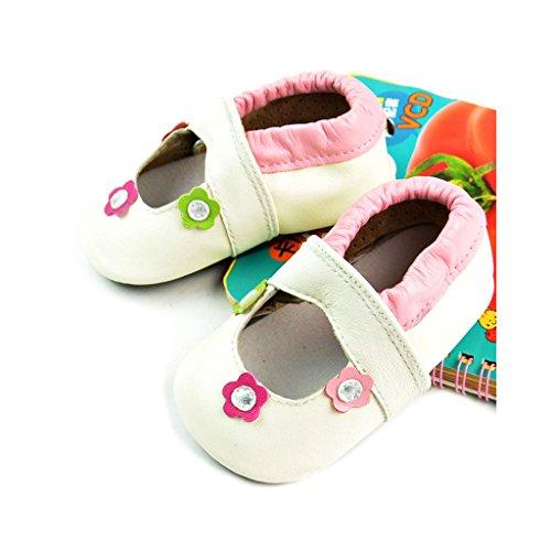 fygood Baby Soft Sole zapatos de piel Zapatitos para verano blanco blanco Talla:L:12-18months/inner length:5.11in blanco