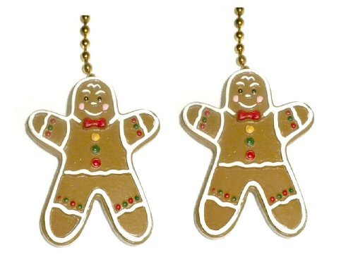 Set of Two Gingerbread Men Ceiling Fan Pull Chain Christmas Decor