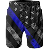 PTYHR Mens Quick Dry Beach Shorts, Blue Lives Matter Flag Swim Trunks, Swim Surfing, Elastic Waist Drawstring Board Shorts, Summer Shorts Wear