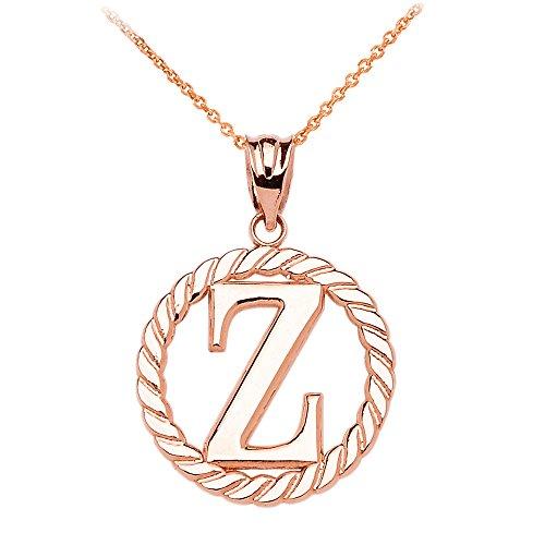 """Collier Femme Pendentif 10 Ct Or Rose """"Z"""" Initiale À Corde Cercle (Livré avec une 45cm Chaîne)"""