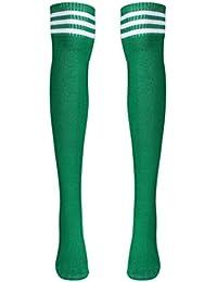 Women Girl Stripe Over The Knee Thigh High Sports Football Tube Socks