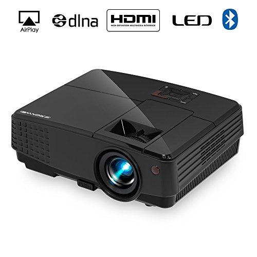 2018 Portable Android Bluetooth Lcd Projector 2600 lumen, with HDMI USB Earphone VGA AV, Wireless Wifi Mini Home Cinema Projector for Gaming Movies Sports DVD Player APPs Smartphone