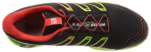 Salomon Hommes Wings 2 Trail Chaussures De Course Noires / Granny Green / Rouge Radiant