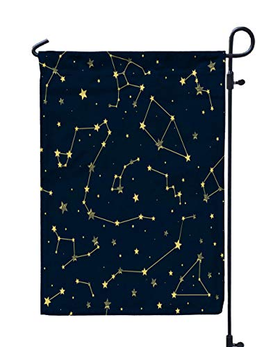 (HerysTa Garden Flag Stand, Decorative Yard Farmhouse Holiday Banner 12 x 18 inches Blue Background Yellow Constellations Star Pattern Signs The Zodiac Double-Sided Seasonal Garden)