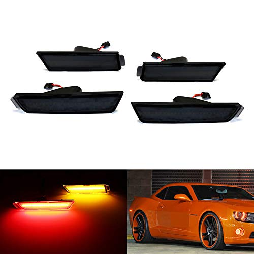 iJDMTOY Smoked Lens Amber/Red Full Side Marker Lights For 10-15 Chevy Camaro, (Front: Amber, Rear: Red) Powered by Total of 96 SMD LED Diodes ()