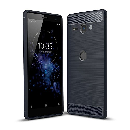 Sony Xperia XZ2 Compact Case, TopACE Ultra Thin Carbon Fiber Scratch Resistant Shock Absorption Soft TPU Protective Cover for Sony Xperia XZ2 Compact (Blue)