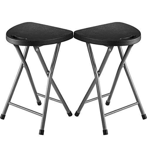 Zimmer Folding Stool (Set of 2) Portable Plastic Chair with Durable Steel Frame Legs for 220 Pound Capacity, Easy Carry Handle, Weather and Impact Resistant for Indoor/Outdoor Use, 18-Inch, Black by ZIMMER