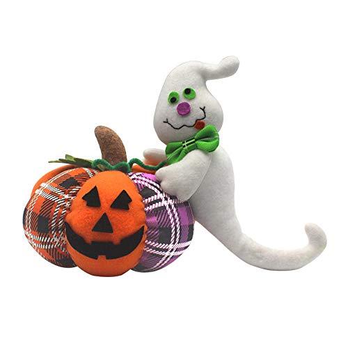 Chartsea Pumpkin Cat Ghost Halloween Decoration Home Ornament Plush Stuffed Doll Decor (A)