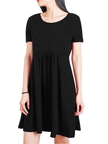 Anna Smith Casual T Shirt Dress, Womens Polyester Fabric Super Soft Short-Sleeved Beauty Tunic Tops Loose Stretchy Comfortable Round Collar High Waist Nice Knitted Pullover Black L