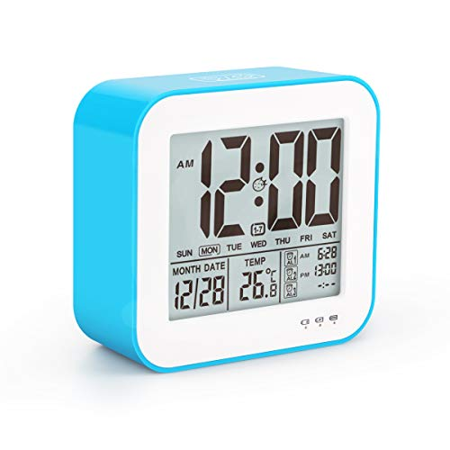 Aitey Digital Alarm Clock, LED Large Display Clock with Temperature, 3 Alarm, Snooze and Low Light Sensor for Home, Office, USB Charger Clock (Blue)