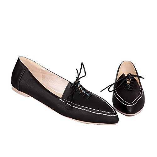 AllhqFashion Womens Lace-Up Pointed-Toe Low Heel Solid Pumps-Shoes Black 8SJEcn25wv