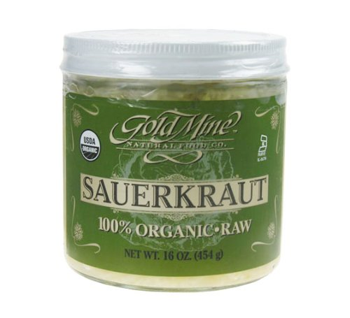 Gold Relish Dish - Gold Mine Organic Fresh Raw UnPasteurized Cabbage Sauerkraut – Macrobiotic, Gluten-Free, Kosher and Vegan Side Dish - 16 Oz (Made in the USA)