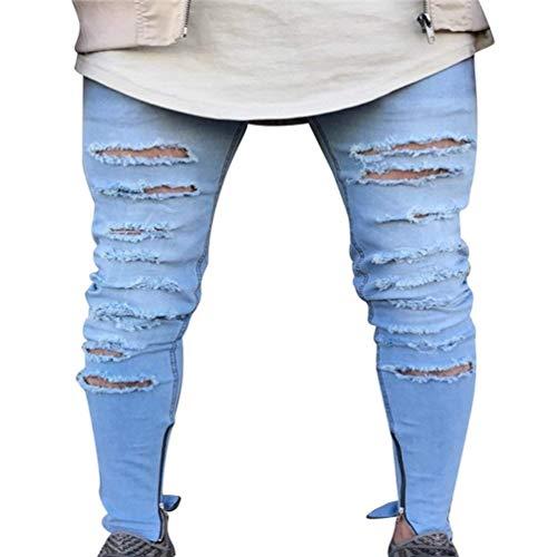 Strappati In Casual 1850 Color Stropicciatura Denim Decorazione Ragazzi Fori A Matita Lavati Ruggine Stretch Da Jeans Pantaloni Con Classiche Dritta Uomo Chiusura 1xaaSCq