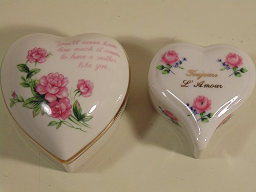 2 Vintage Lefton Heart Shaped Trinket Boxes- Mother Rose Box and Smaller Toujours L'amour Box