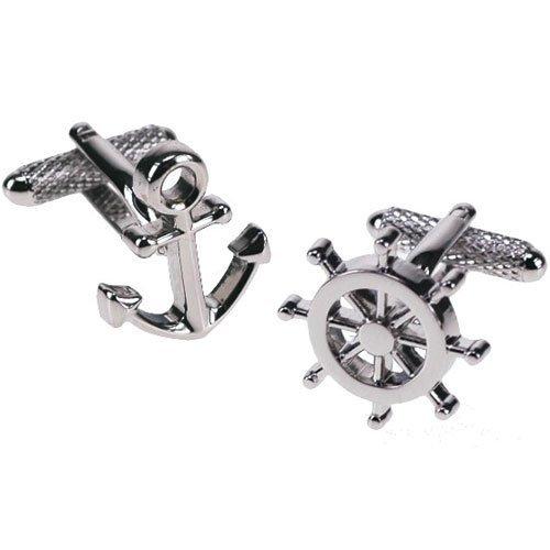 Onyx Anchor - Premier Life Store. Onyx Art Metallic Anchor and Wheel Sailor cufflink's in Gift Box - CK239