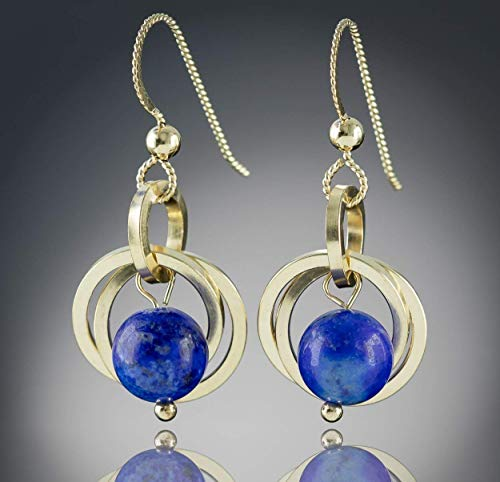 Natural Blue Lapis Lazuli Dainty Gemstone Dangle Earrings with 14K Yellow Gold Fill Circles