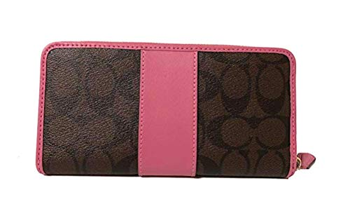 PVC Pink Around Brown Accordion Wallet Zip Signature Coach Aw1qf