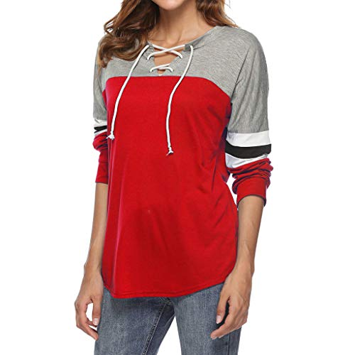 (Sunhusing Women's V-Neck Cross Bandage Strap Long Sleeve Pullover Top Loose Casual Solid Color T-Shirt (S, 1 Red))