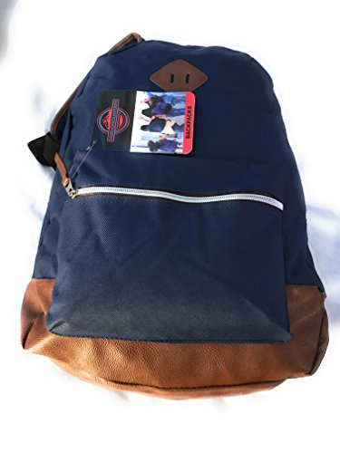 School Backpack With Lunch Sack for Boys & Girls - Use for Travel, Camping & Work. Light & Durable, New, Popular, Colorful & Spacious - Size 17' x 13' x 6' (Navy - Brown)