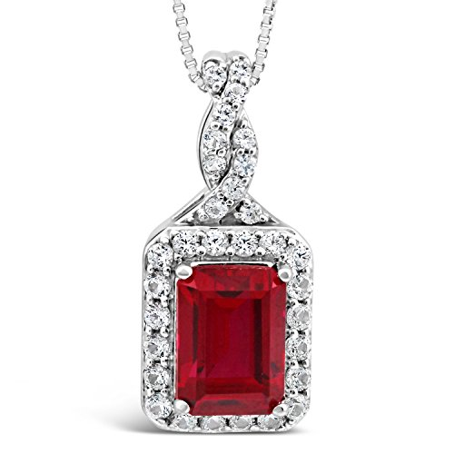 Lab Created Ruby Necklace with Created White Sapphires Emerald Shape Halo Sterling Silver - 18 Inch Chain