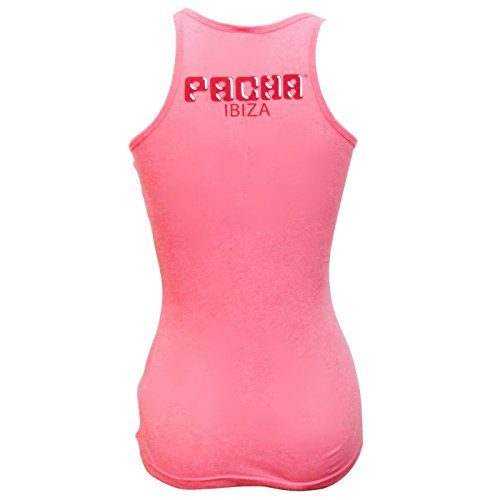 Pacha: Camiseta sin mangas Mujer Rosa con Logo Básico Cereza Fuscia