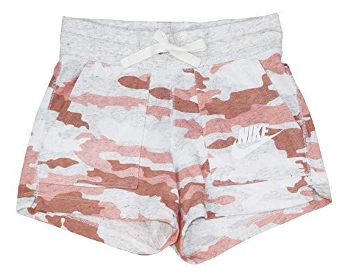 (Nike Sportswear Camouflage Print Athletic Women's Shorts (Bleached Coral, Medium))