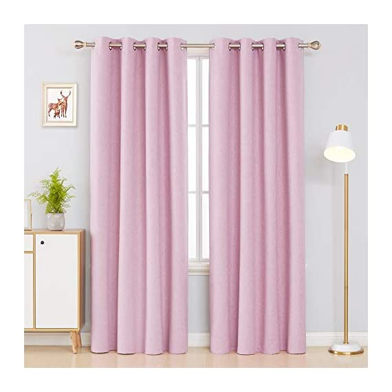 Deconovo Faux Linen 100 Blackout Curtains Grommet Thermal Insulated Noise Reducing Room Darkening Draperies for Children' Room 52x84 Inch Set of 2 Panels Pink - Deconovo faux linen blackout curtains are made of 100 percent high quality polyester. Imported, Constructed with 3 layers, our heavy blackout curtains have a faux linen look, are smooth and pleasant to touch. These total blackout curtain can completely block the light from getting you're your room. Once closed, these curtain panels will protect your privacy as they are not see-through and are also noise reducing. Our thermal insulated curtains are energy efficient, fashioned to help in reducing the amount of heat that gets into your room in summer and or goes out of the room through the windows in winter. - living-room-soft-furnishings, living-room, draperies-curtains-shades - 41Jk4 f8hxL. SS570  -