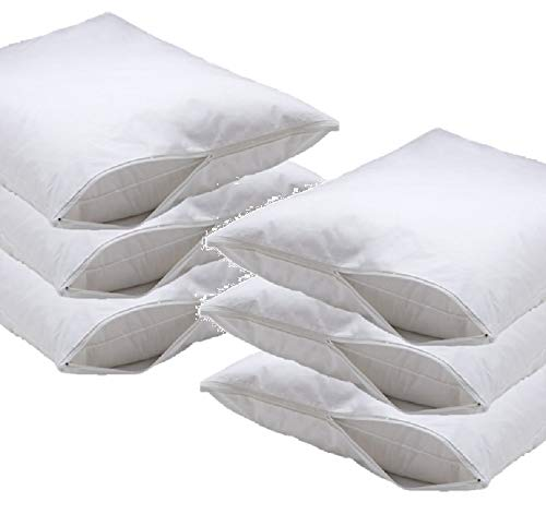 - DELUXE Vinyl Pillow Protector with Zipper, Pillow Covers- 6 Pack