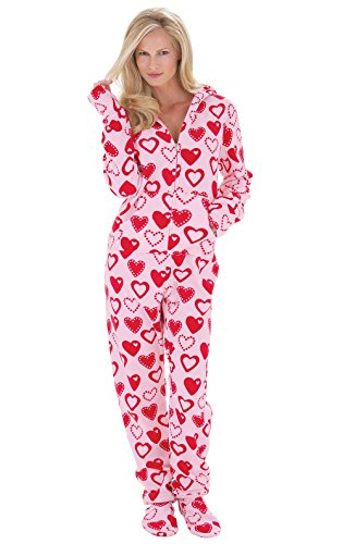 PajamaGram Women's Heart Hoodie-Footie Fleece Onesie Pajama, Pink/Red 3X (24-26) -