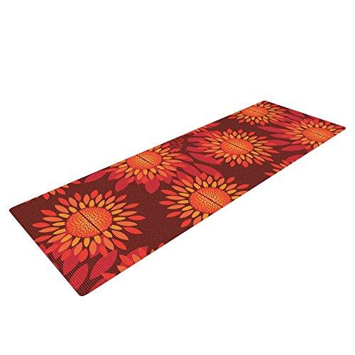 Kess InHouse Yenty Jap ''Sunflower Season'' Yoga Exercise Mat, Orange/Red, 72 x 24-Inch by Kess InHouse
