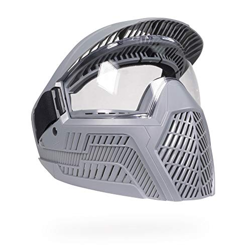Base Paintball Goggles/Masks with Built-in Visor - Slate Gray with Anti-Fog Lens ()