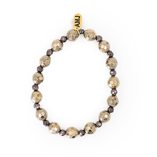 - A. Marie Metallic Two Tone Faceted Hematite Stones and Silver Plum Hematite Plated Stretch Bracelet