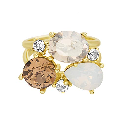 (Devin Rose Cluster Style Ring for Women in Yellow Gold Plated 925 Sterling Silver Made With Golden Shadow & White Opal Swarovski Crystal (Size 7